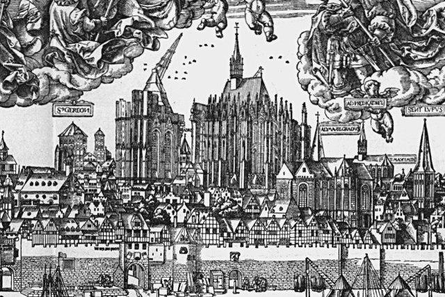 De Dom in aanbouw op een tekening uit 1531