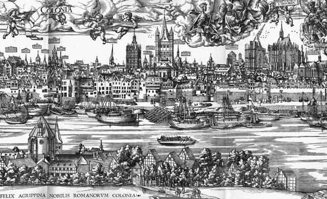 Keulen aan het einde van de middeleeuwen met de Dom nog in aanbouw