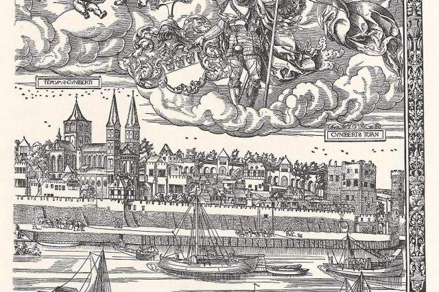 De Sint-Kunibertkerk (links) op een tekening uit 1531