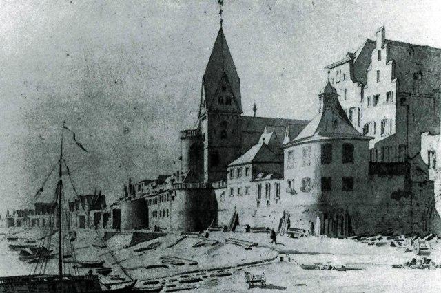 De kerk aan het begin van de 19e eeuw, voor de aanleg van de Rheinauhafen