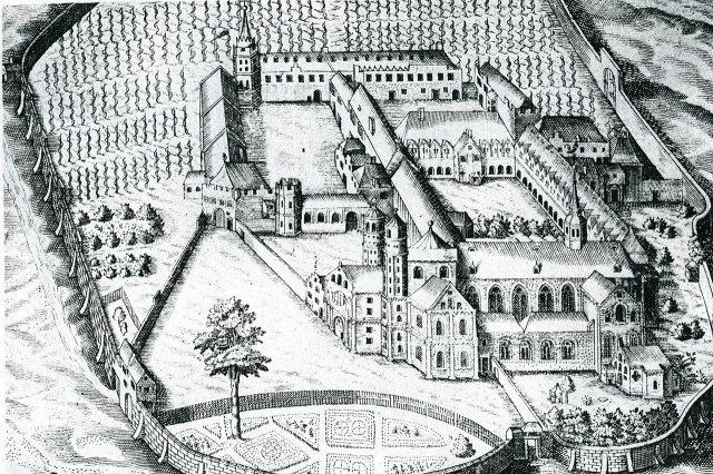 De Sint-Pantaleonkerk op een stadstekening uit het jaar 1625