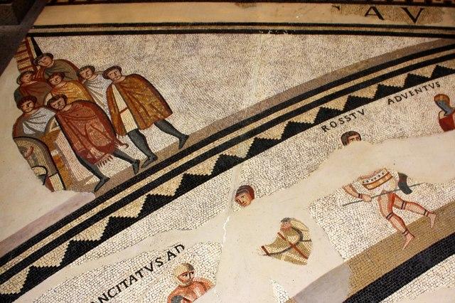 foto: mozaïek van gladiatoren uit de Romeinse tijd van Keulen