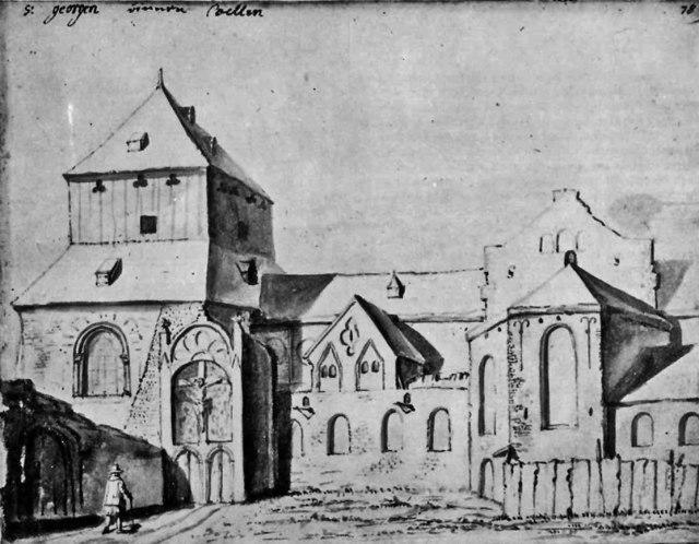 De Sint-Joriskerk op een tekening uit de 17e eeuw