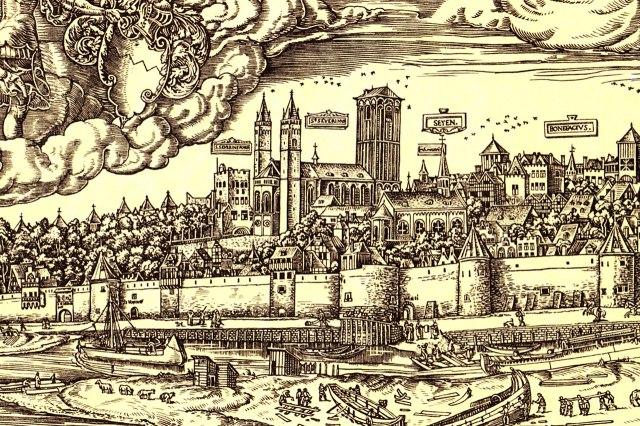 De kerk op een tekening uit 1531 van Anton Woensam, links is de Severinstor te zien